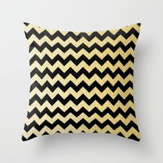 Gold Glitter Chevron Throw Pillow