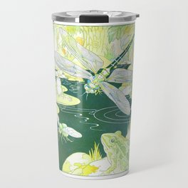 Nature Pond scene with a Dragonfly, Frogs & a Hornet by Harrison Cady Travel Mug