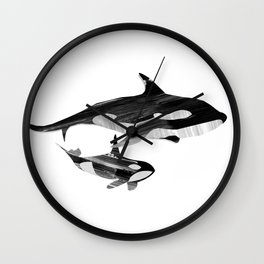 A swim together (black and white) Wall Clock