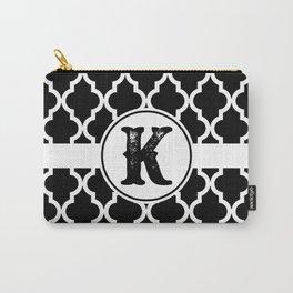 Black Monogram: Letter K Carry-All Pouch