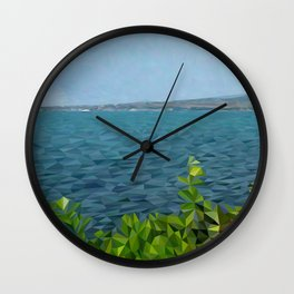 Sea landscape in polygon technique Wall Clock