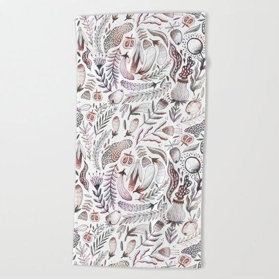 Veggies and flowers Beach Towel