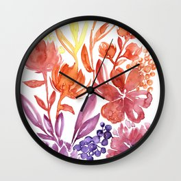 Floral abstract and colorful watercolor illustration Wall Clock