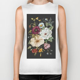 Colorful Wildflower Bouquet on Charcoal Black Biker Tank