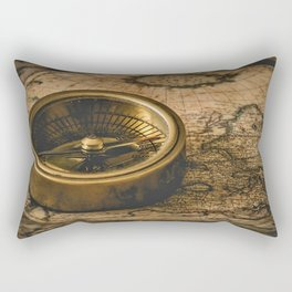 Vintage-Style World Map with Compass Wall Art #1 Rectangular Pillow