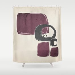 Retro Abstract Design in Charcoal Grey and Mulberry Shower Curtain