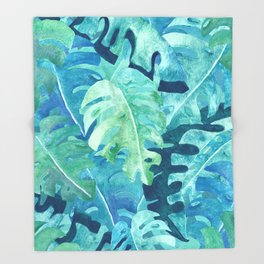 Monstera Leaves | Watercolor Collage in Blue Green Throw Blanket