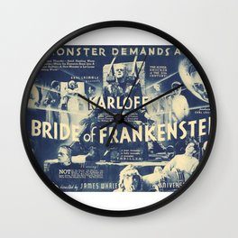 Bride of Frankenstein, vintage horror movie poster Wall Clock