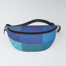 BLUE AND BROWN TONES - BLOCKS AND WEAVE PATTERN Fanny Pack
