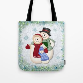 Snowman and Family Glittered Tote Bag
