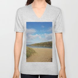 Crantock Beach, Cornwall Unisex V-Neck