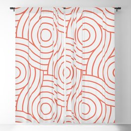 Pantone Living Coral Circle Swirl Pattern on White Blackout Curtain
