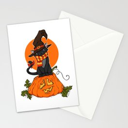 Witch Cat on Pumpkin Head Stationery Cards