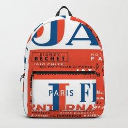 Vintage 1949 Paris International Jazz Festival Poster Backpack