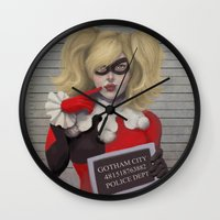 harley quinn Wall Clocks featuring Harley quinn by Sara Meseguer