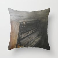 piano Throw Pillows featuring Piano by Claudia Ma