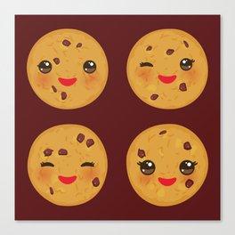 Kawaii Chocolate chip cookie Canvas Print