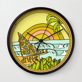 drifting to paradise surf art by surfy birdy Wall Clock