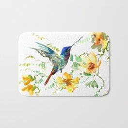 Blue Hummingbird and Yellow Flowers Bath Mat
