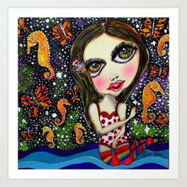 seahorse big eyes girl Art Print