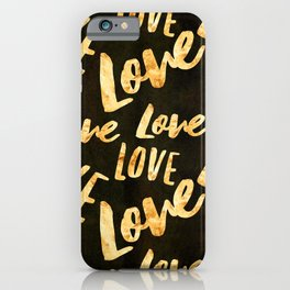 LOVE LOVE LOVE Gold Pattern on Black Suede iPhone Case