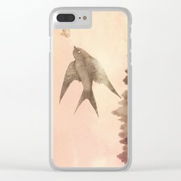 Sunset Swallow Clear iPhone Case