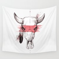 pit bull Wall Tapestries featuring Raging Bull by KyraGuffey