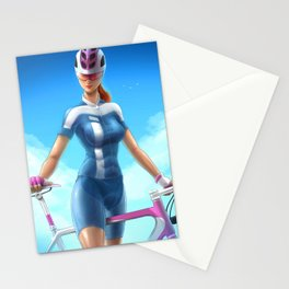 Cyclist girl Stationery Cards