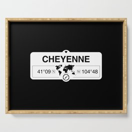 Cheyenne Wyoming GPS Coordinates Map Artwork with Compass Serving Tray