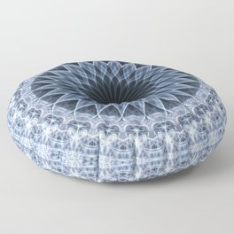 Mandala in blue and gray tones Floor Pillow