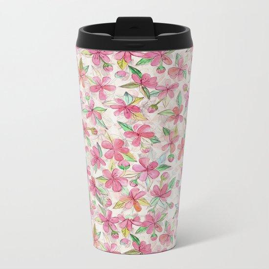 Pink Painted Blossom Pattern Metal Travel Mug