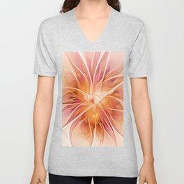 Floral Impression, Abstract Fractal Art Unisex V-Neck