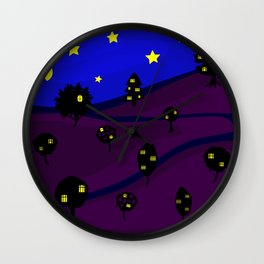 Starry Tree Village Wall Clock