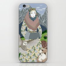 Lady with an owl and a dog iPhone Skin