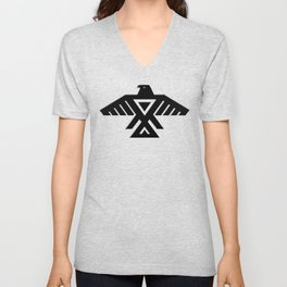 Animikii Thunderbird doodem on red Unisex V-Neck