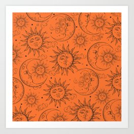 Orange Magic Celestial Sun Moon Stars Art Print