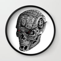 terminator Wall Clocks featuring Ornate Terminator by Adrian Dominguez