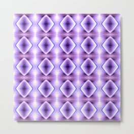 Blue Purple Geometric Diamond Pattern Design Metal Print