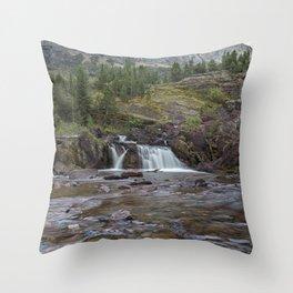 Redrock Falls - Glacier National Park Throw Pillow