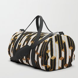 Marble Skyscrapers - Black, White and Gold Duffle Bag