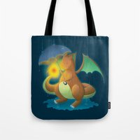 charizard Tote Bags featuring Charizard by Jeanette Aga
