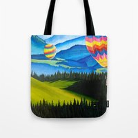 hot air balloons Tote Bags featuring Acrylic Hot Air Balloons by Megan White