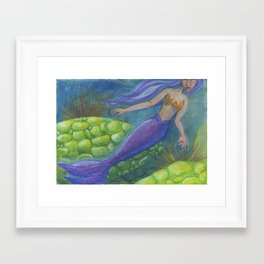 The Mermaid and The Turtles Framed Art Print