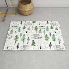 Camping and Trees Rug