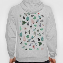 Cute whimsical Christmas trees pattern illustration Hoody