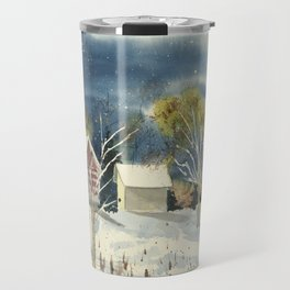 Winter Moon // Landscape Watercolor Painting // Rural Farm Art Travel Mug