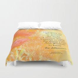 Serenity Prayer Orange Poppy Garden Glow Duvet Cover