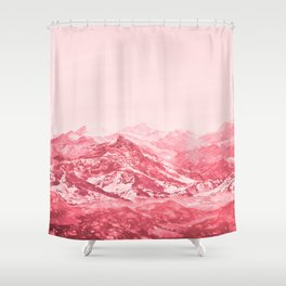 Mountains Red Shower Curtain