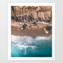 Aerial view of El Matador Beach in Malibu, CA Art Print