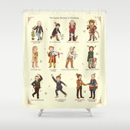 The Twelve Doctors of Christmas Shower Curtain